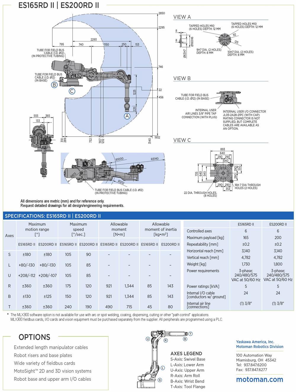 Robot Yaskawa Motoman ES165D-100 - Thông số